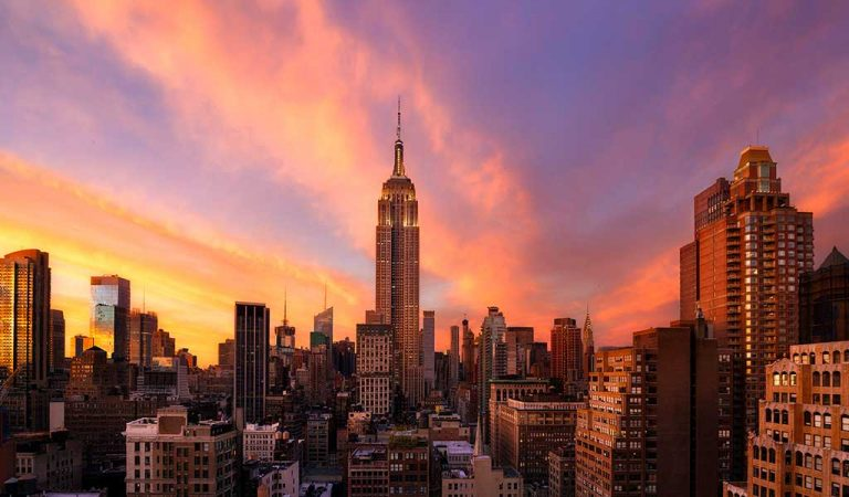 Aerial view of the Empire State Building during sunset.