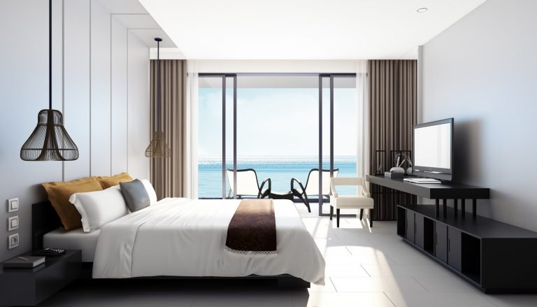 hotel room with balcony and ocean view