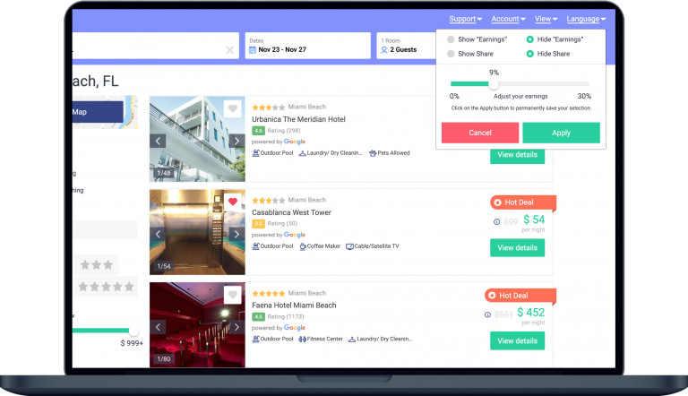 Laptop screen showing takeabed hotel booking platform for agencies where you are in control of the earning.